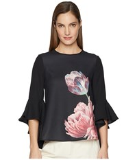 Ted Baker Suuzan Waterfall Sleeve Top Black Clothing