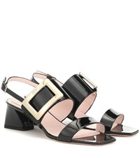 Roger Vivier Gommettine Strap Leather Sandals Black