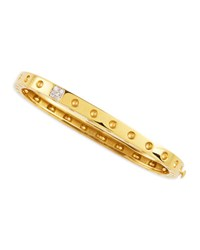 Roberto Coin Pois Moi One Row Diamond Bangle Yellow Gold