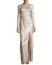 Halston Heritage Long Sleeve Sequined Column Gown