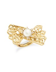 Oscar De La Renta Faux Pearl Fan Cocktail Ring Gold