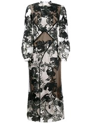 Erdem Floral Jacquard Panelled Dress Nude And Neutrals