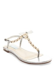 Betsey Johnson Pearl T Strap Sandals Silver