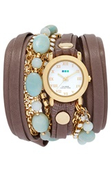 La Mer 'Venetian' Leather And Stone Wrap Watch 32Mm Nordstrom Online Exclusive Mushroom