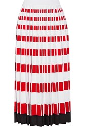 Fendi Pleated Stretch Knit Midi Skirt Red