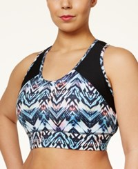 Jessica Simpson The Warm Up Plus Size Printed Sports Bra Prism Chevron