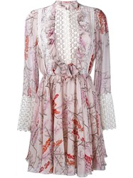Giambattista Valli Longsleeved Floral Print Dress Pink And Purple