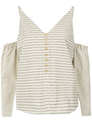 Lilly Sarti Striped Cold Shoulder Top Cotton Nude Neutrals