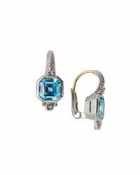Judith Ripka Estate Asscher Cut Cz Drop Earrings Blue