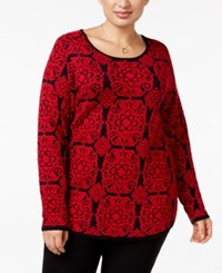 Charter Club Plus Size Medallion Sweater Only At Macy's New Red Amore Combo
