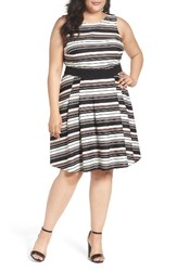 Gabby Skye Plus Size Women's Belted Stripe Fit And Flare Dress