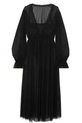 Le Petit Trou Entante And Jeanne Flocked Tulle And Jersey Nightdress And Bodysuit Set Black