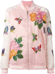 P.A.R.O.S.H. Floral Embroidery Bomber Jacket Pink Purple