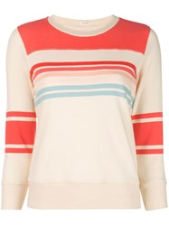 Mother Striped Slim Fit Sweatshirt White