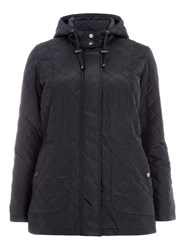Evans Plus Size Navy Quilted Hooded Coat