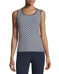 Escada Scoop Neck Honeycomb Print Tank Midnight Blue Women's