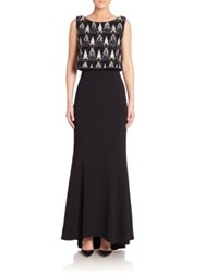 Laundry By Shelli Segal Beaded Sleeveless Gown Black