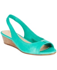 French Sole Fs Ny Namely Wedge Sandals Women's Shoes Teal Green.