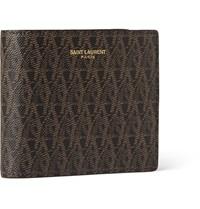 Saint Laurent Monogrammed Leather Billfold Wallet Brown