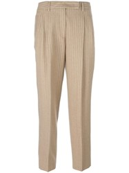Alberto Biani Pleated Tapered Trousers Nude Neutrals