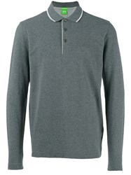 Hugo Boss Long Sleeve Polo Shirt Grey