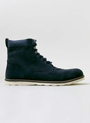 Topman Navy Suede Lace Boots Blue