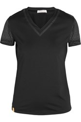 Monreal London Net Gains Stretch Jersey And Mesh T Shirt Black