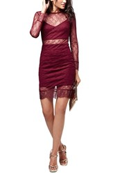 Women's Topshop Lace Overlay Body Con Dress Red