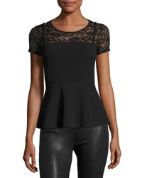 Casual Couture Lace Yoke Short Sleeve Peplum Tee Black