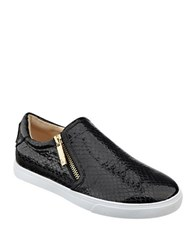 Nine West Busybee Snakeskin Accented Sneakers Black White