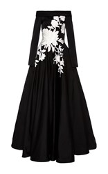 Naeem Khan Off The Shoulder Floral Gown Black White