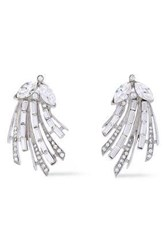Ben Amun Woman Silver Tone Crystal Earrings Silver