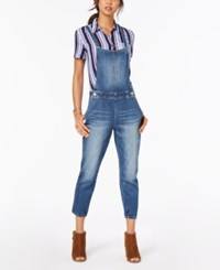Dollhouse Juniors' Cropped Denim Overalls Light Wash