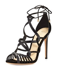 Alexandre Birman Marina Suede And Python Lace Up Sandal Black