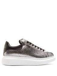 Alexander Mcqueen Raised Sole Low Top Leather Trainers Silver Multi
