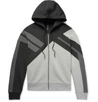 Neil Barrett Panelled Bonded Jersey Zip Up Hoodie Gray