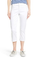 Petite Women's Nydj 'Karen' Cotton Sateen Capri Pants Optic White