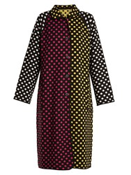 Duro Olowu Reversible Polka Dot Intarsia Knit Wool Coat Black Multi