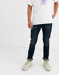 Only And Sons Slim Fit Super Stretch Jeans In Dark Wash Blue