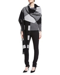 Burberry Oversized Patchwork Cashmere Scarf Black White