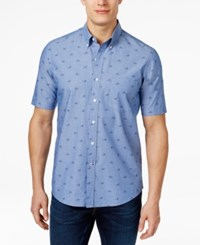 Club Room Men's Bicycle Print Short Sleeve Shirt Only At Macy's Blue Chambray