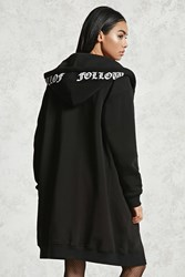 Forever 21 Follow Me Graphic Fleece Hoodie Black