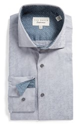Ted Baker Men's Big And Tall London Scooter Trim Fit Texture Dress Shirt Grey