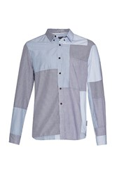 French Connection Men's Patchwork Bleached Jean Shirt Denim Bleached