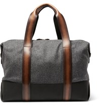 Berluti Week End Leather Trimmed Flannel Holdall Gray