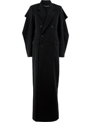 Y Project Double Breasted Long Coat Black