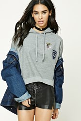 Forever 21 Tiger Patch Fleece Hoodie Heather Grey