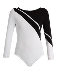 Pepper And Mayne Contrast Side Seamless Performance Bodysuit White Black