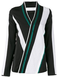 Victoria Beckham Striped Wrap Blouse Black