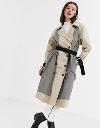 Moon River Mixed Check Trench Coat Beige